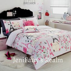 paris bedroom for teens | Paris Chic Eiffel Tower White Pink Grey Single Quilt DOONA Cover Set ...