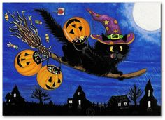 Created from one of my Original Paintings. ~ AmyLyn Bihrle ● Curious Kitties Series #223    Title: Trick or Treat Express!    ● Sizes available- Use