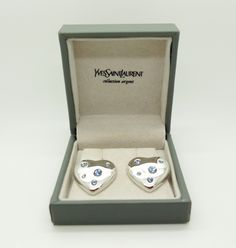 YSL Collection Argent Silver Blue Crystal Heart Earrings Signed Jewellery…