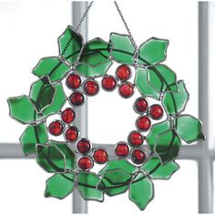 Stained Glass Holly Wreath