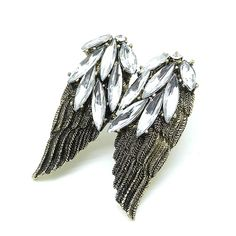 Buy Vintage #Punk Ring Unique Carved Antique Silver Wings Totem Crystal Lucky #Rings #SS16