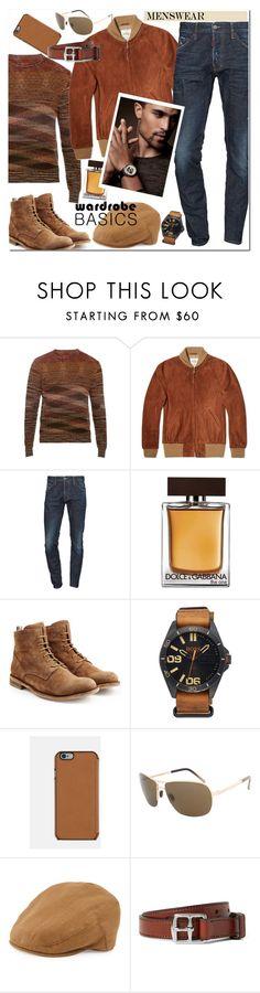 """Wardrobe Basics: Menswear"" by j-sharon ❤ liked on Polyvore featuring Missoni, Golden Bear, Dsquared2, Dolce&Gabbana, Officine Creative, BOSS Orange, Porsche, Neiman Marcus, Yuketen and mens"