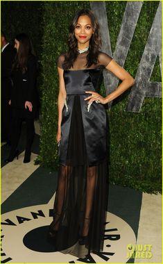 Zoe Saldana in Marios Schwab . . . I'm not in love with this, I don't fancy this half solid half sheer look.