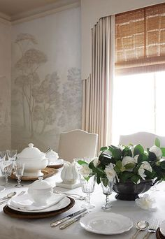 Grisaille~ Vergelegen Estate South Africa Simply exquisite interior design today from John Jacob Interior designer! Fine Dining, Dining Area, Dining Table, Dining Rooms, Home Interior, Interior Design, Dining Room Inspiration, Blinds For Windows, Window Blinds