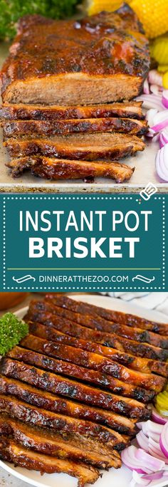 This Instant Pot brisket is beef coated in a homemade spice rub, then pressure cooked with BBQ sauce until perfectly tender. A hearty and delicious dinner option that's packed with flavor and is super easy to make. Supper Recipes, Easy Dinner Recipes, Appetizer Recipes, Dinner Ideas, Homemade Barbecue Sauce, Homemade Spices, Beef Steak Recipes, Ground Beef Recipes, Instant Pot Pressure Cooker