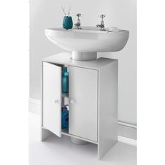 Extra storage is always a plus around the bathroom and this two door undersink cabinet is ideal for storing away your bathroom accessories - B&M Stores. Storage, Undersink Bathroom Storage, Grey Bathroom Storage, Wooden Bathroom Shelves, Bathroom Storage Cabinet, Pedestal Sink Storage, Sophisticated Bathroom, Bathroom Furniture, White Bathroom Storage