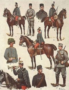 """In 1908 the Austro-Hungarian Army, long known for its colourful uniforms, reluctantly introduced a new field uniform in a less conspicuous colour: hechtgrau (""""pike-grey"""": grey-lightblue hue). Cavalry Regiments excepted… Legend: 1-Dragoon, 2-Infantry Officer, 3-General, 4-Hussar, 5-Field Marshal, 6-Uhlan, 7-Hussar, trumpeter, 8-Hungarian Infantry, pre-1908 style uniform, 9-Infantry M1908 uniform"""