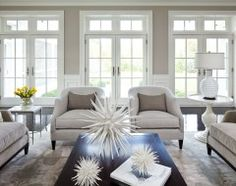Great color (benjamin moore shale) Great furniture arrangement, great table top ideas!!!