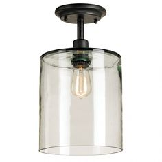 "Glass Jar Ceiling Mount-beautiful and $399! I purchased a similar fixture (clear glass and a ""bell shape""-oil rubbed bronze finish and Edison bulb) from Lowes for a fraction of the price!"