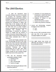 The 1860 Election - Free Printable American History Reading with Questions for Grades 9-12