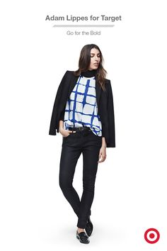 It's easy to fall for this plaid Adam Lippes for Target top: the cobalt blue adds a punch of color and the modern windowpane print adds a dose of cool. It's pretty perfect for layering under a blazer or cardigan, or over a turtleneck for an on-trend look. And the entire collection is available now!