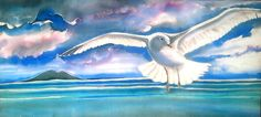 Seagull in Flight over Rangitoto - Art Panel – Kay Designs NZ Panel Art, Bathroom Art, Outdoor Art, Silk Painting, Online Gifts, Bird Art, Garden Art, New Zealand, Hand Painted