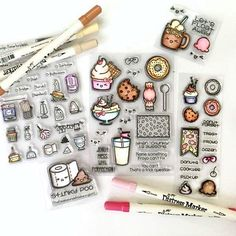 Colored images by designer Samantha Mann using the Sweet Stamp Shop Donut Forget, Froyo and Friends, Clean It Up, Poo and Root Beer stamp sets