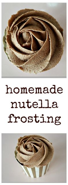 Homemade Nutella Frosting for Cupcakes - vegan and gluten-free recipe Nutella Buttercream Frosting, Vegan Frosting, Frosting Recipes, Delicous Desserts, Vegan Desserts, Just Desserts, Nutella Recipes, Vegan Recipes, Vegan Cupcakes