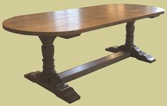 Pedestal Dining Table Handmade in Solid Oak with D Shaped Ends