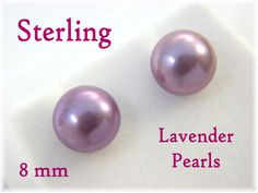 Akoya  8 mm Purple Lavender Cultured Pearl Sterling Silver Stud Earrings - Red Leather Gift Box - Wedding Bride Birthday - FREE SHIPPING by FindMeTreasures on Etsy