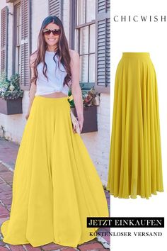 Timeless Favorite Chiffon Maxi Skirt in Mustard Mode Outfits, Skirt Outfits, Dress Skirt, The Dress, Casual Outfits, Fashion Mode, Look Fashion, Womens Fashion, Fashion Tips
