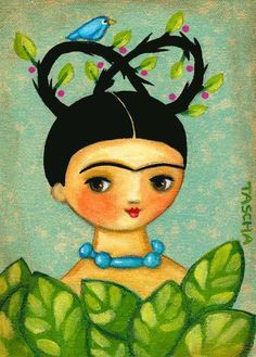 Diego Rivera, Frida Kahlo Cartoon, Kahlo Paintings, Frida And Diego, Frida Art, Mexican Folk Art, Girl Cartoon, Diy And Crafts, Whimsical