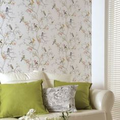 Ornithology Wallpaper in White by Statement