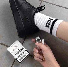 shoes nike black socks black shoes black nike pale black pale marlboro sneakers black sneakers just do it black and white tumblr blacke and white pale black outfits teenagers punk goth summer art cigarette nike air force 1 fuck socks nike shoes
