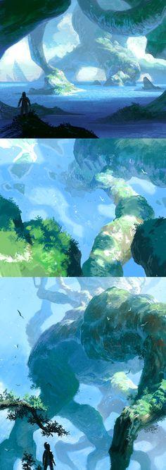 Location sketches by ~monk-art on deviantART