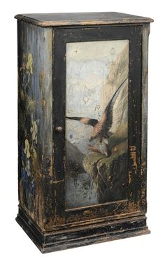 Rustic Paint-Decorated Panel-Door - Lot 911 of September 2012 Auction  Cabinet late 19th century, pine throughout, panel door depicting a hawk, open interior with apertures for four shelves (missing), 49 x 26 x 18-1/2 in - Estimate $300 to $500