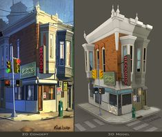 Street Corner by ~Miggs69 on deviantART    great example of a stand alone building that could be the style we want.
