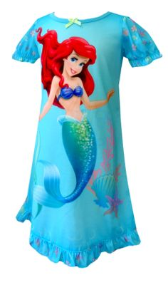 Disney Princess Ariel Aqua Toddler Nightgown She will be whirling and twirling her way to bed with this beautiful nightgown! Th...