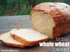 Easy Whole Wheat Bread  -  traditional recipe and bread machine recipe.  practical, easy.     lj