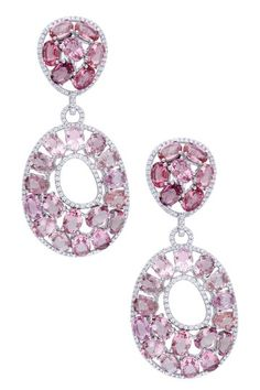 14K White Gold Diamond & Pink Tourmaline Drop Earrings #fk #fashionkiosk #jewellery #earrings #ювелирные #украшения #серьги #турмалин