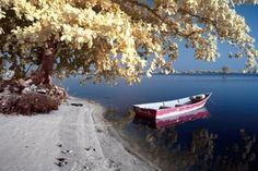 Trendykunst presenteert dit prachtige glasschilderij van een bootje.