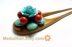 Hand Carved Wooden Hair Fork wirh Natural Turqouise and Polymer Clay Rose