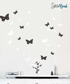 Vinyl Wall Art Decal Sticker Butterfly Flower Floral #128 | Stickerbrand wall art decals, wall graphics and wall murals.
