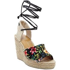 Dolce Vita Sophia Floral Espadrille Wedge Sandals ($27) ❤ liked on Polyvore featuring shoes, sandals, multi, dolce vita shoes, floral wedge sandals, floral print shoes, woven wedge sandals and floral print sandals