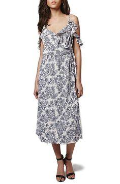 Topshop 'China Floral' Ruffle Trim Wrap Midi Dress