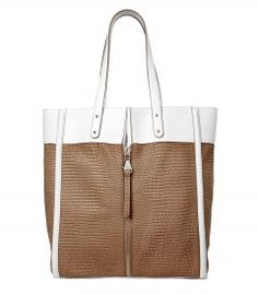 Escada Taupe Shopping Bag - Vacation styles to put you one umbrella-adorned drink away from beachside chic. http://shop.harpersbazaar.com/trends/paradise-found