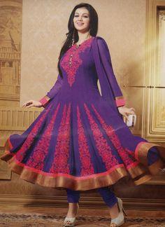 Ayesha Takia Georgette Purple Anarkali Suit