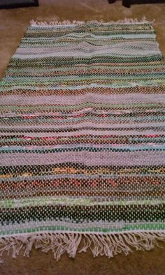 Several Shades and Patterns of green Woven Rag Rug Check out this item in my Etsy shop https://www.etsy.com/listing/119936936/several-shades-and-patterns-of-green
