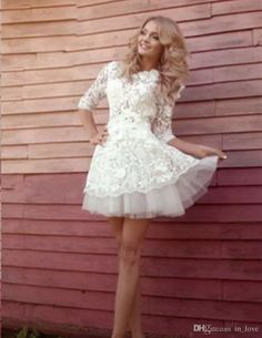 Short Wedding Dresses 2017 Lace Three Quarter Sleeve Handmade Appliques A Line Lovely Bridal Gowns Vestido De Noiva Winter Modern Wedding Dresses Styles Wedding Gown Online From In_love, $75.38| Dhgate.Com