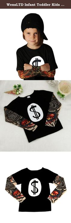 """WensLTD Infant Toddler Kids Baby Boy Girl Long Sleeve Tattoo Print T-shirt Tops Clothes (90, A). Gender:Boys,Girls Clothing Length:Regular Pattern Type: Tattoo Print Sleeve Style:Regular Style:Occident Material:Cotton Blend Sleeve Length: Long Sleeve Package include:1PC Shirt Size:2T Label Size:80 Bust:56cm/22"""" Sleeve:38cm/15"""" Length:37cm/14.6"""" Height:80CM Size:3T Label Size:90 Bust:58cm/22.8"""" Sleeve:39cm/15.4"""" Length:39cm/15.4"""" Height:90CM Size:4T Label Size:100 Bust:60cm/23.6""""..."""
