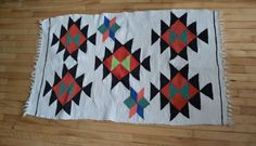 Vintage Rag Cotton Rug With Fringe. Small by catbedoven on Etsy, $50.00