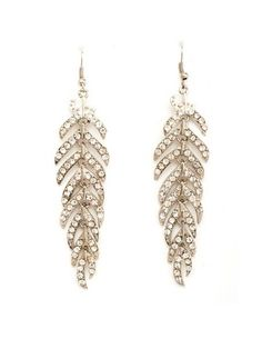 Rhinestone Leaf Dangle Earrings: Charlotte Russe
