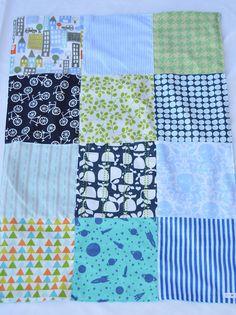 33x25 Baby Boy patchwork blanket by LoveyLake on Etsy
