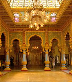 Mysore Palace interior (not House Architecture Styles, Indian Architecture, Interior Architecture, Mysore Palace, Palace Interior, Indian Interiors, India Art, Top Hotels, Travel Deals