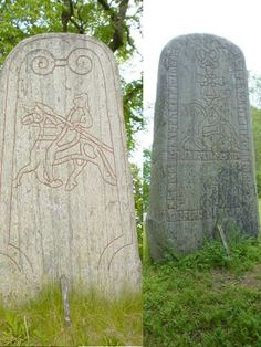 In Sweden recently archaeologists were monitoring some backhoe work near an old church at Hagby in the Uppland district. A large stone eme. Mayan Symbols, Viking Symbols, Viking Runes, Ancient Symbols, Egyptian Symbols, Wiccan Tattoos, Celtic Tattoos, Vikings, Nordic Runes