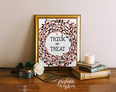 Fall Printable halloween art print digital by PrintableWisdom, trick or treat sign, you can print this yourself so you can put one on your door if you have candy for visitors, or decorate your home/party.