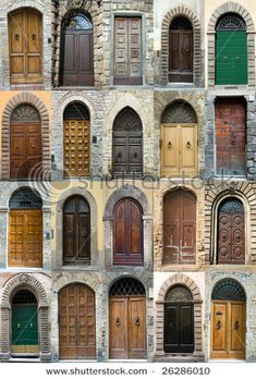 Tuscany old elegant obsolete vintage doors entrance collection Front Door Design, Window Design, Old Doors, Windows And Doors, Art And Architecture, Architecture Details, Estilo Colonial, Door Knobs And Knockers, Vintage Doors
