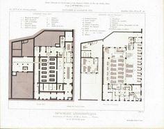 Saint-Michel Boulevard Publishing Co. Floor Plan Design 1883 Architecture Print