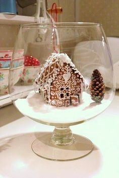 Gingerbread house~OR~glue cinnimon sticks together to create a small log cabin.White paint dab for snow embellish, add bottle brush tree....create ur own