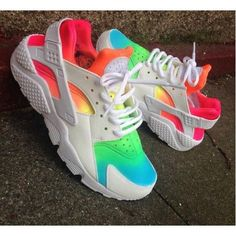 Nike Air Huarache Custom Rainbow Color Womens Shoes & Trainers Online